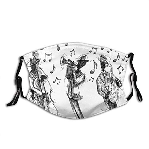 Face mask reusable Sketch Style of A Jazz Band Playing Music with Instruments and Musical Notes Print Balaclava Unisex Reusable Windproof Anti-Dust Mouth Bandanas Made in USA