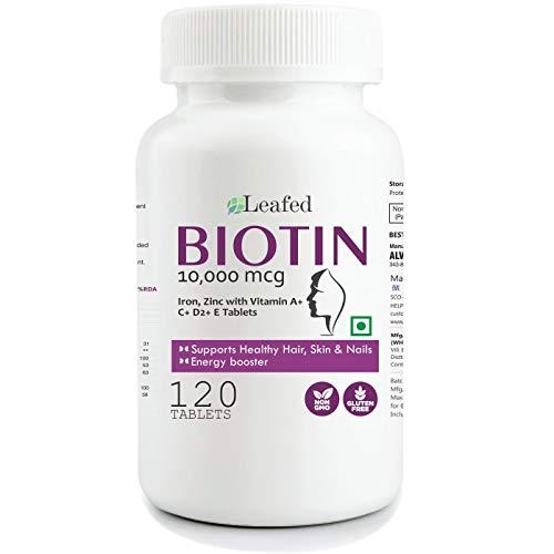 Leafed Biotin 10000mcg Maximum Strength with Zinc, Iron & Vitamin E, A, C, D2 for Hair Skin & Nails - 120 Vegetarian Tablets