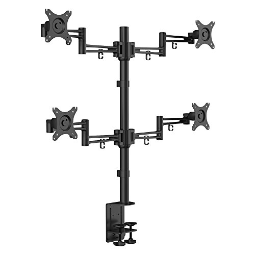 LINE beeldschermhouder, met houderstang en tafelklem, voor LCD-/LED-monitor met 30 inch beeldschermdiagonaal (76 cm), zwart LINE beeldschermhouder, viervoudig, met stang en bureauklem zwart