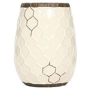 Silk Flower Arrangements Hosley Ceramic Honeycomb Vase 7.5 Inch High. Ideal Gift for Weddings Spa Flower Arrangements O9