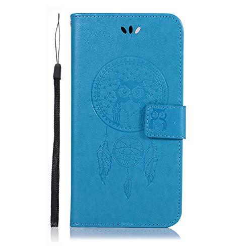 Funda para Moto G60 3D a prueba de golpes Flip Owl Book Wallet Phone Case con ranuras para tarjetas cierre magnético TPU Bumper Slim Fit Funda protectora para Moto G60 azul