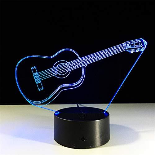3D Night Light Guitares Avec Porte-clés Acrylique 7 Couleur Chang Usb Lampe de Bureau Instruments de Musique Décoration Pour Le Cadeau À La Maison Pour Les Enfants