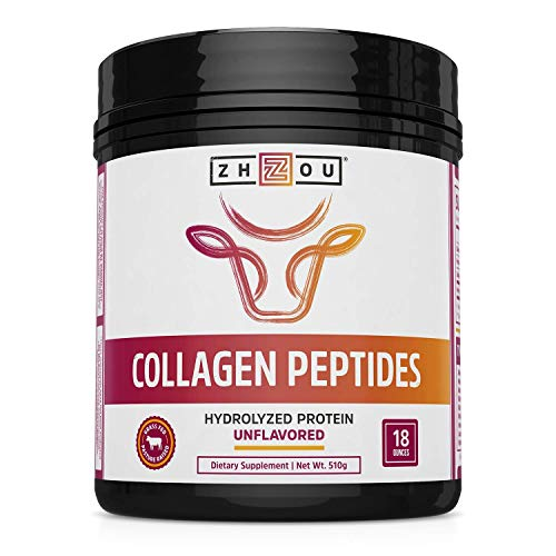 Zhou Collagen Peptides Hydrolyzed Protein Powder – Grass Fed, Pasture Raised, Unflavored, Hormone-Free, Non-GMO,18 Ounce
