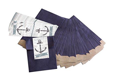 25 kleine blaue Papiertüten Geschenk-Tüten Geschenk-Verpackung (9,5 x 14 cm) mit Sticker Banderole-Aufkleber Anker vintage!