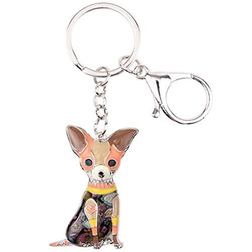 La Aleación del Esmalte Sentado Clave Perro Chihuahuas Cadena Anillos Llavero Regalos For Las...