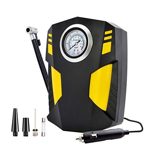 JoaSinc Compressore Aria Portatile per Auto, DC 12V Gonfiatore Pneumatici Auto Professionale, Pompa per Pneumatici Auto con Manometro Fino a 150PSI, con Luce LED per Auto,Palloni,Bicicletta