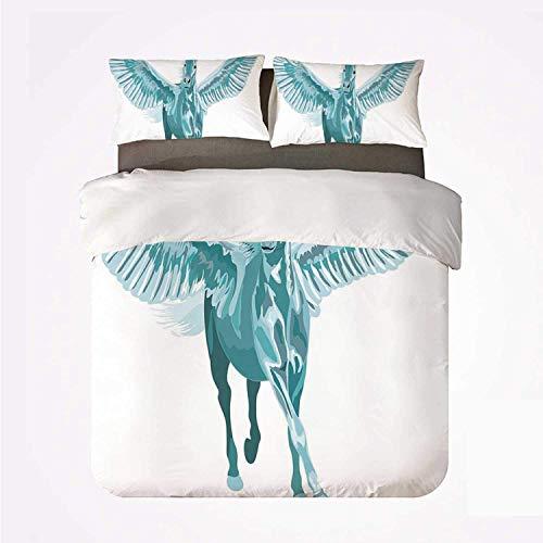 Juego de Funda nórdica Decoración de Caballo Cómodo Juego de 3 sábanas, Artístico Caballo Azul Pegaso con alas Abiertas Fantasía Misterio Mito Vuelo para Hotel