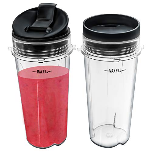 Nutri Ninja 16 oz Cups with 2 Seal Lids for BL770 BL780 BL660 Professional Blender (Pack of 2)