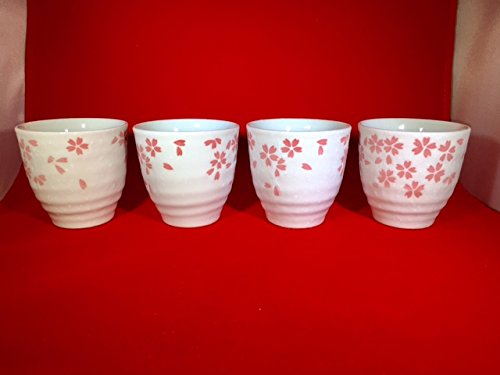 4 piece of Japanese Tea Cup with Sakura (Cherry Blossoms) Made in Japan.