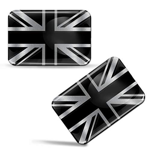 Biomar Labs 2 x Aufkleber 3D Gel Silikon Silber Stickers England UK Grossbritannien Flag Flagge Fahne Auto Motorrad Fahrrad Fenster Tür PC Handy Tablet Laptop F 125