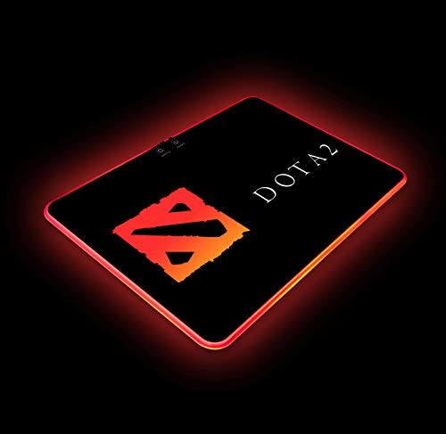 Dota 2 RGB Gaming Mouse Pad Colorful LED Atmosphere Light Hard Surface with Personalized Luminous Pattern Gamer Gifts W14 X H10 (350 X 250 mm)