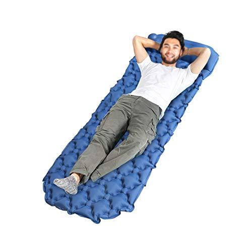 HUI JIN Colchoneta inflable para dormir ultraligera para acampar al aire libre colchoneta de aire azul