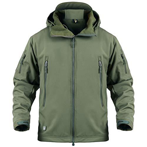 Donhobo Militärjacke für Herren, atmungsaktiv, wasserdicht, Softshell-Fleece-Jacke, Camouflage, Jagdjacke mit Kapuze Gr. L, grün