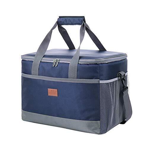 Delgeo Bolsa de Picnic, 30L Gran Capacidad Portátil, Adecuado para Hombres y Mujeres, Apta para Viajes, Playa, Picnic, Camping, Barbacoa (Azul)
