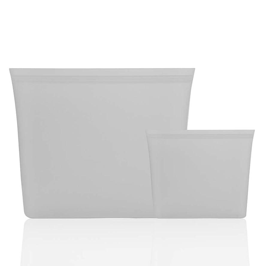 寄託内訳留め金家の屋外の台所は漏れ防止の再使用可能な食糧ランチの軽食の収納袋/コップ/ボールを締めます (グレー, 2個入りバッグ)