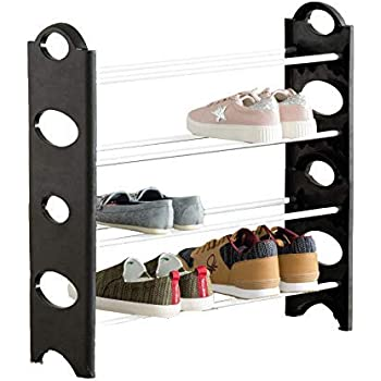 LookNSnap Plastic Foldable 8 Pair Shoe Rack with 4 Shelves - Small
