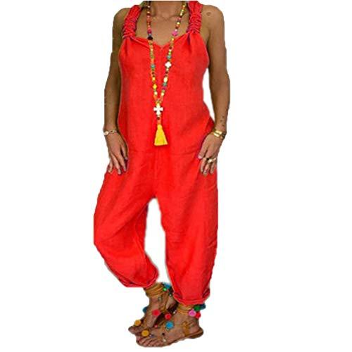 Petos de Pantalones Largo Casual para Mujer, Morbuy Verano Baggy Harem Mono Suelto Moda Bolsillos Overoles Jumpsuit Tirantes Playa Fiesta Noche Oficina Pantalones Embarazados
