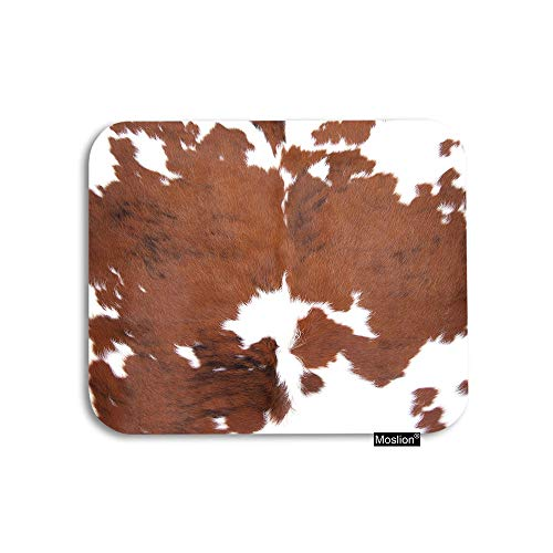 Moslion Cowhide Mouse Pad Farm Animal Skin Leopard Brown Cow Gaming Mouse Pad Rubber Large Mousepad for Computer Desk Laptop Office Work 7.9x9.5 Inch
