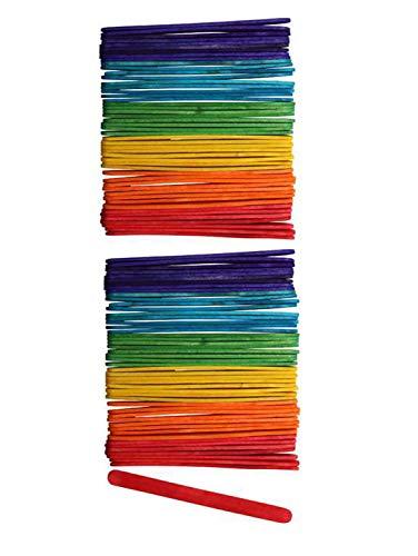 Glorex 6 2200 681 Bastelhölzer aus bunt lackiertem Birkenholz, in Form von Eisstäbchen, ca. 11,4 cm lang mit abgerundeten Enden, 100 Stück, vielseitig einsetzbar beim Basteln, 11 cm