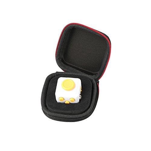 Fidget Cube mit Hülle Schreibtisch-Spielzeug Klicker Joystick-Tasten zum Stressabbau, bei Angst, zum Konzentrieren ADHD Autismus Erwachsene Kinder Studenten Büro Geschenk, 4?Yellow White