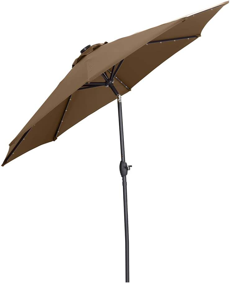Ainfox 9 FT Solar Patio Umbrella, 32 LED Lighted with Tilt w/Crank Adjustment, 8 Steel Umbrella Ribs, Outdoor Waterproof Fade-Resistant Fabric for Garden, Deck, Backyard, Pool (Coffee)