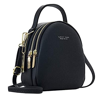 IVIKER Mini Backpack Purse for Women,Small Leather Crossbody Shoulder Bags Messenger Bags and Handbags for Ladies (Black)