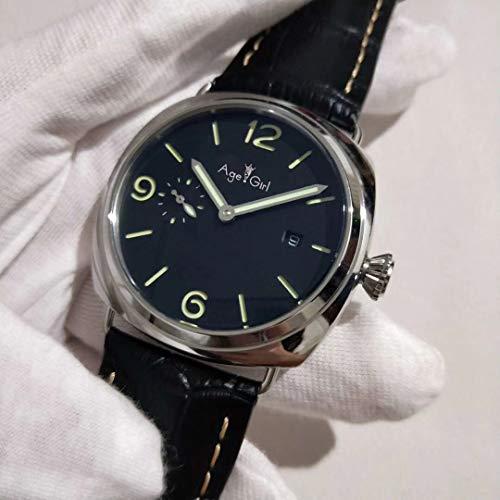 HHBB Marca de lujo para hombre automático mecánico zafiro acero inoxidable relojes plata negro cuero luminoso caballeros reloj deporte Aaa+
