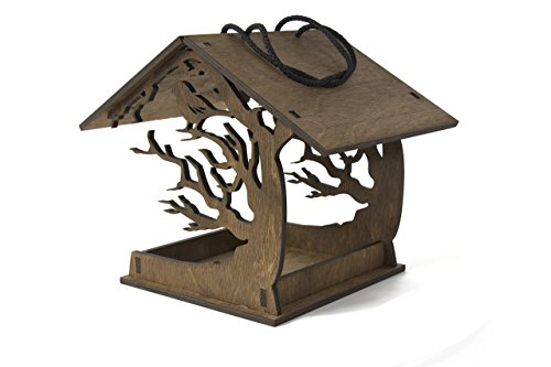 Bird Feeder 11.8x9.3x7.9 inches - Hanging Bird Feeder - Love Birds - Birds House - Birdhouses - Wooden Bird Feeder - Garden Decor - Patio Decor - Garden Gift