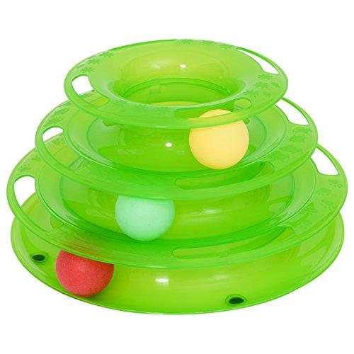 Pawhut Katzen Spielturm Spielzeug Kugelbahn Kreisel mit 3 Bällen 3 Etagen Grün L25 x B16 x H13cm