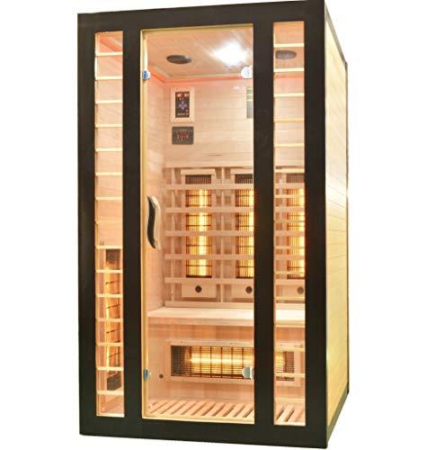 Infrarotkabine 120 x 105 x 195 cm für 2 Personen aus Hemlock Holz | Ausgestattet mit 6 Rotlichtstrahler (3 davon regelbar) + 1 Carbon Magnesium Heizplatte | Infrarotsauna mit Farblichttherapie