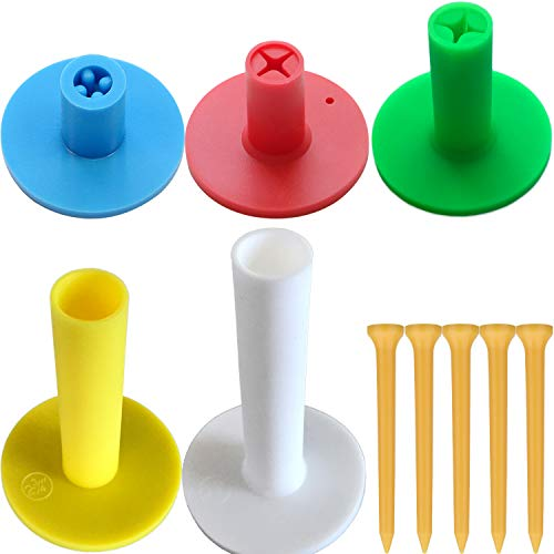 Love&PI Rubber Golf Tees & Holders in One Pack for Driving Range Mats (1 +1.5 +2 +2.75 +3.1 , Multi-Height)