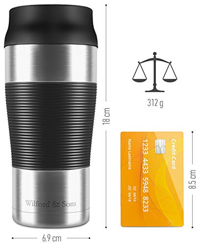 Coffee Travel Mug Leakproof - Double-Walled Vacuum Insulated Stainless Steel | BPA Free, Dishwasher Safe | Reusable to Go Tumbler + Tea Drinking Cup | One-Handed 360 ml On The Go Flask | Hot Cold