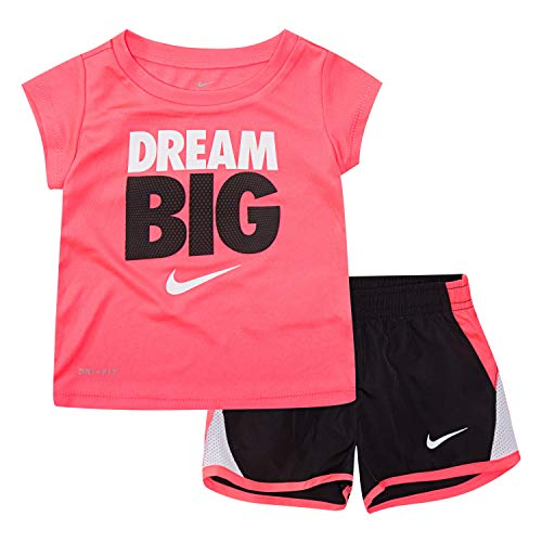 NIKE Children's Apparel Girls' Toddler Graphic T-Shirt and Shorts 2-Piece Outfit Set, Black/Racer Pink, 2T