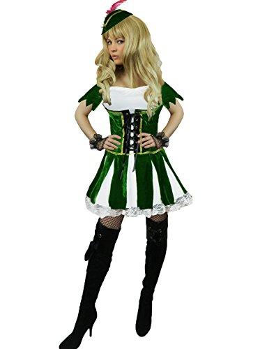 Yummy Bee - Deluxe Robin Hood Peter Pan Karneval Fasching Kostüm Damen Größe 34-46 (44-46)