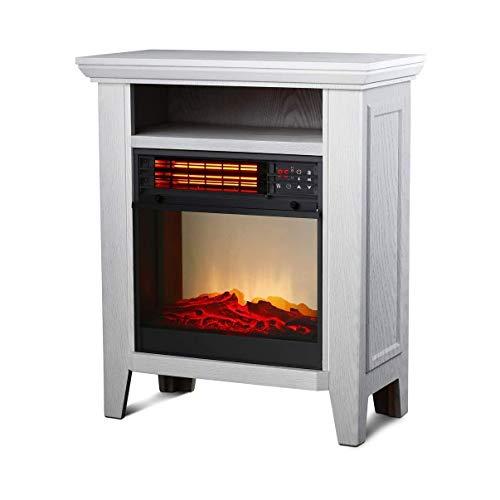 DGYAXIN Calentador de Estufa de Chimenea eléctrico portátil, termostato de Calentador de Infrarrojos Ajustable, Llama Realista en 3D, Control Remoto y Temporizador