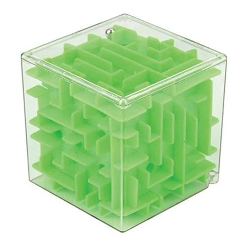 Cubo laberinto tridimensional. Juego de coordinación y destreza. Verde