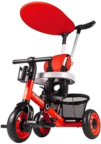 Fahrrad Fahrräder Kinder Tricycle Jungen und Mädchen Tricycle Pram Innen Carriage Multifunktionale Fahrrad (Farbe: Rot, Größe: 77x55x100cm) (Color : Red, Size : 77x55x100cm)