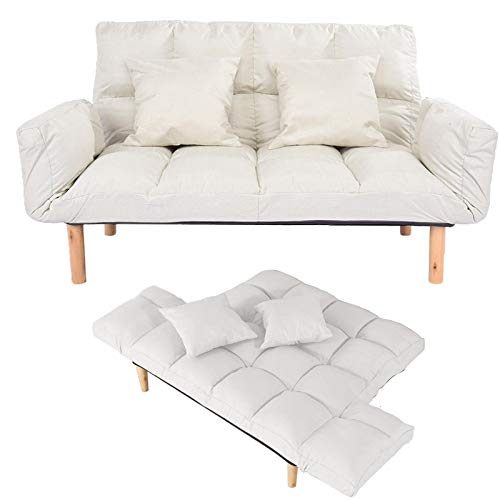 [US Stock] Lazy Folding Sofa with Foldable Armrests with 2 Pillows, Modern Style Wooden Legs,for Apartments, Dormitories, etc. (White)