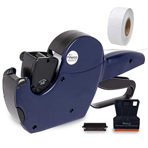Perco Pro 2 Line Price Gun, 8 Digit 2 Line Price Label Gun Preloaded with Roll of 750 White Labels & Inker