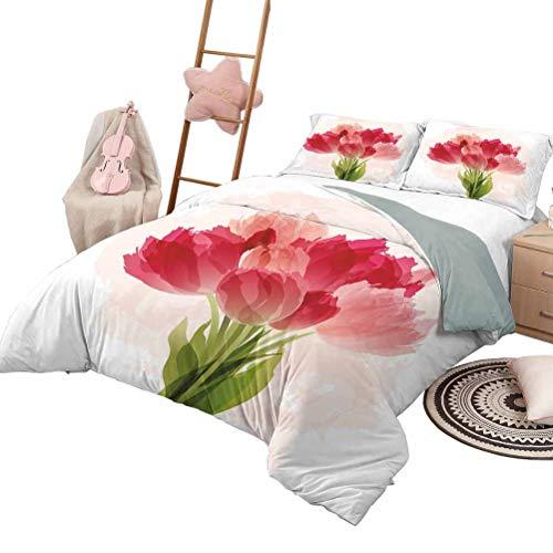 3-teiliges Quilt-Set Floral Luxe Bedding 3-teiliges gestepptes Tagesdecken-Bettlaken-Set Aquarellmalerei Strauß Tulpenblume Künstlerischer botanischer romantischer Druck in voller Größe Pink Coral Gre