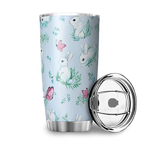 Banniyouall Conejo de Pascua de acero inoxidable taza de viaje aislamiento vaso taza de café para la escuela casera trabajos al aire libre regalos para amigos blanco 600ml