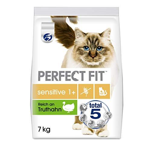 Perfect Fit Sensitive 1+ – Trockenfutter für erwachsene, sensible Katzen ab 1 Jahr – Reich an Truthahn – Ohne Weizen und Soja – Unterstützt die Verdauung – 1 x 7 kg