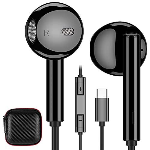 Cuffie USB C,ACAGET Semi In Ear Cuffie Auricolari con Filo HiFi Stereo per Galaxy S21 Ultra Tipo C Cuffie con Microfono e Controllo Volume per Samsung S21+ S20 FE Note 20 Ultra OnePlus 9 8T Pro Nero