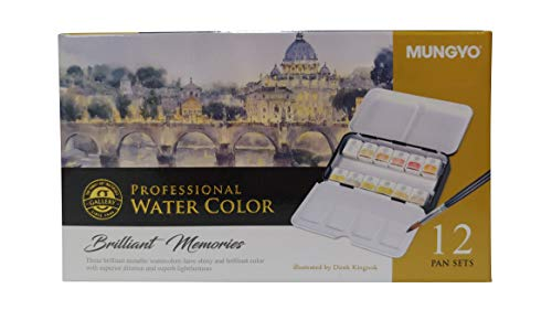 MUNGYO Professional Watercolor Set, Tin Case, 12 Colors, Metallic Colors