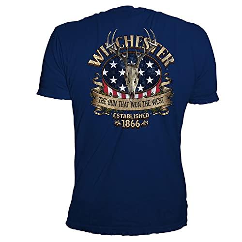 Winchester Official Men's American Deer Skull Graphic Short Sleeve Cotton T-Shirt (Medium, Navy)