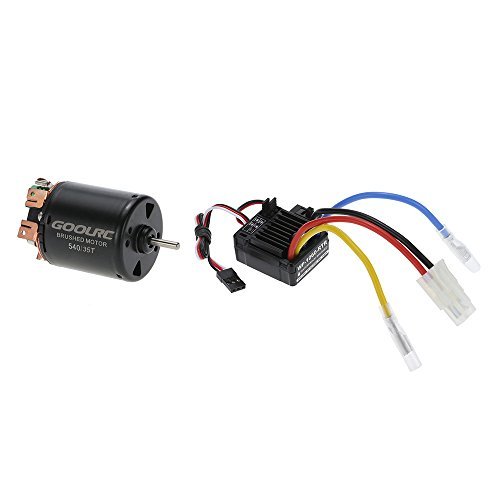 Price comparison product image GoolRC Compatible with 540 35T 4 Poles Brushed Motor and WP-1060-RTR 60A Waterproof Brushed ESC Electronic Speed Controller with 5V / 2A BEC for 1 / 10 RC Car GoolRC 540 35T 4 Poles Brushed Motor