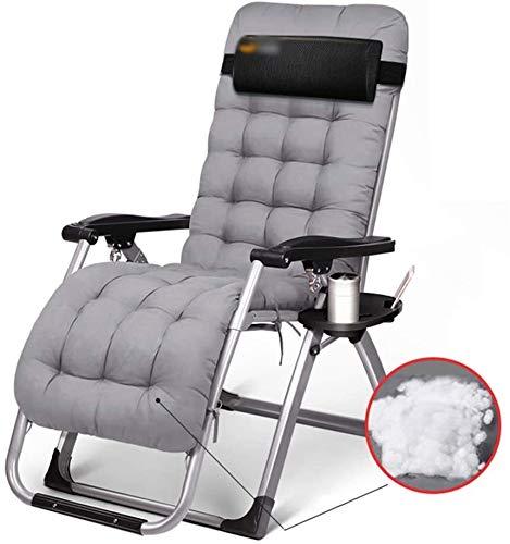 Cero Gravedad sillón, sillón reclinable con el Amortiguador, Plegable al Aire Libre terraza sillón, tamaño: cojín Gris