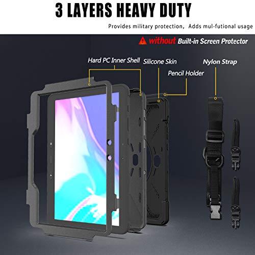Gerutek Hülle Samsung Galaxy Tab Active Pro T545 / T540 (10,1 Zoll), Stoßfeste Robust Panzerhülle mit Drehbar Stände, Handschlaufe, Schultergurt Schutzhülle für Samsung Tab Active Pro 10.1, Schwarz