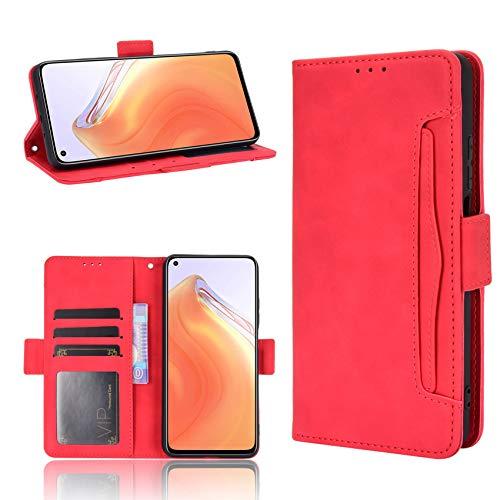 TOPOFU Funda para Samsung Galaxy M32/A22 4G, PU/TPU Premium Wallet Magnético Carcasa con Tapa Abatible y Ranuras para Dinero y Tarjeta de Crédito para Samsung Galaxy M32/A22 4G-Rojo