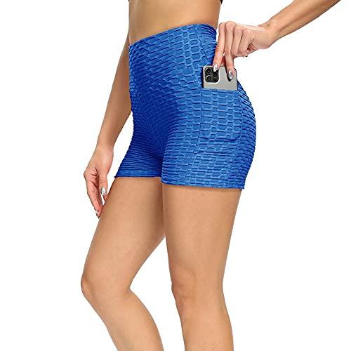 Pantalones cortos de yoga para mujer, ajuste delgado, sexy, levantamiento de glúteos, fitness básico, Azul / Patchwork, M